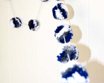 Pom Pom Garland Blue White and Gray  (15)  2 inch Pom Poms  Pom Banner - Nursery Garland - Party Garland - Photo Prop - Wedding Garland