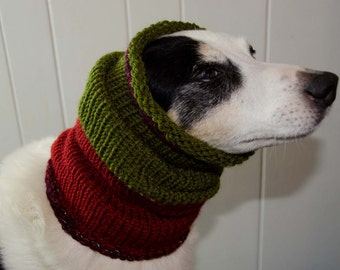 """Knit Dog Scarf/Cowl  Green and Red Size Medium -  16 Circumference with Stretch. 18"""" long  Fits  up to 22"""" Neck OOAK Dog Accesories"""