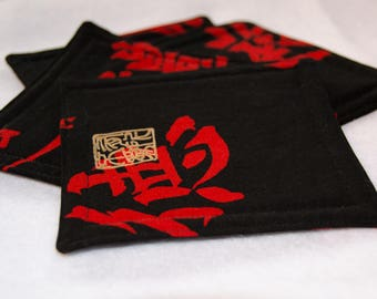 Black Gold  and Red Chinese Script Coaster Set (5) 2 Sets Listed   5 Square  Nice House Warming Gift  - 10.00
