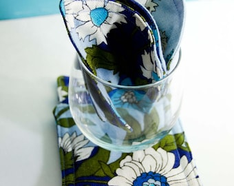 Blue and Green Floral Coaster Set (7)    4 1/4 x  4 1/4  <Shabby Chic Coaster> < Cottage Coaster> Nice House Warming Gift