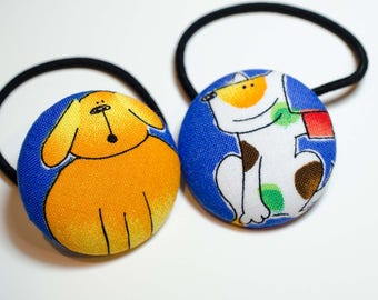 """Fabric Button Hair Ties  Dog Print-  = Craft Button = Pony Tail Holder  = Fabric Sewing Button Lg - Childrens Hair Tie - 1 1/2"""""""