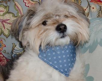 "Dog Bandana - Over the Collar Blue n White  Print   -  Washable Cotton - Dog Scarf -Dog Clothing - Dog Apparel - Puppy Bandana  10"" by 7.5"""