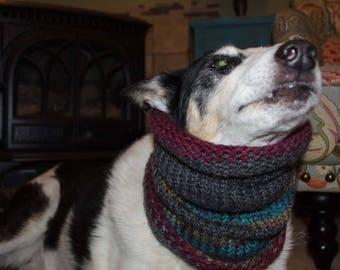 """Knit Winter Dog Scarf, Knit Dog Cowl *  Size Medium Measures 16"""" Circumference by 13 long"""" Dress up your Pooch in Style"""