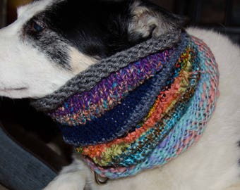 """Knit Winter Dog Scarf, Knit Dog Cowl *  Size Medium Measures 16"""" Circumference by 14"""" Dress up your Pooch in Style"""