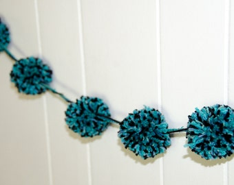 "Pom Pom Garland Turquiose and Black  6 - 3"" Pom Poms - Pom Banner - Pom Pom Garland -  Party Decoration - Photo Prop"