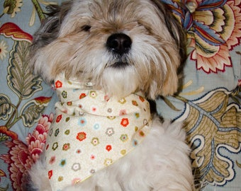 """Dog Bandana - Size Small- Snaps Together  -   Cotton Dusty Pastel Flowers Etched with Gold Reversable Dog Scarf - Puppy Bandana  17"""" by 8 """""""