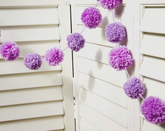 "Purple Pom Pom Garland 2 1/4"" & 2"" Pom Poms 61"" Long 15 Pom Poms - Pom Banner - Photography Backdrop - Party Decor - Children's Decor"