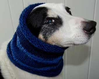 """Knit Dog Scarf/Cowl  Blue Size Medium -  15 Circumference with Stretch. 14"""" long  Fits  up to 18"""" Neck OOAK Dog Accesories * Dog Clothing"""