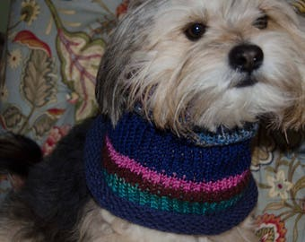 """Knit Dog Scarf/Cowl   Small -  12 Inch Circumference with Stretch. 11"""" long  Fits  up to 20"""" Neck OOAK Dog Accesories"""