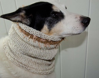 """Knit Dog Scarf/Cowl  Ivory Tweed Size Medium -  14 Circumference with Stretch. 18"""" long  Fits  up to 20"""" Neck OOAK Dog Accesories"""
