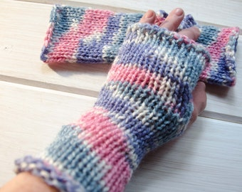 Knit Wool Fingerless Gloves Pastel Colors - Gift for Her - Stocking Stuffer -Snow Gear - Teen and Adult Soft n Warm