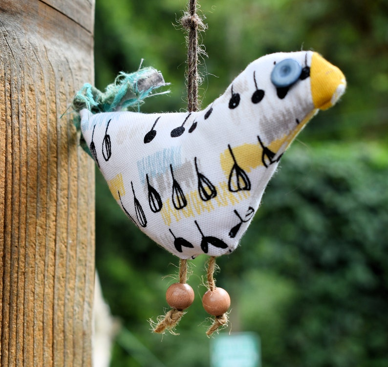 Shabby Fabric Bird Ornie   Bird Orniment 6 12 x 3 Ornie Bird Bowl Filler Yellow Black Blue and White