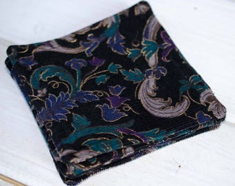 Coaster Set (5) Purple Black and Green Corduroy  2 Sets Listed   5 Inch Square  Nice House Warming Gift