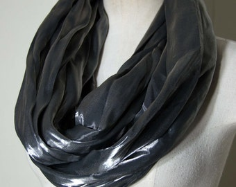 """Charcoal Gray Infinity Scarf-Loop Cowl- Loop Scarf Eternity Scarf   70"""" circumference 14"""" wide OOAK Gift for Her"""