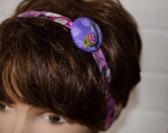 "Laurel Birch Button Headband-  = Bird  Hair Band = Adjustable Size Toddler to Adult  =  1 1/2"" Button Fold over Elastic Headband"