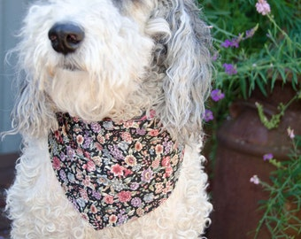"Dog Bandana Floral Print   Medium Double Sided- Two Prints - Cotton - Dog Scarf -Dog Clothing - Dog Apparel - Puppy Bandana  9"" by  29 1/2"""