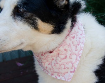 "Dog Bandana Pink and White Double Sided - Cotton - Dog Scarf -Dog Clothing - Dog Apparel - Puppy Bandana  8 1/2"" by  29"""