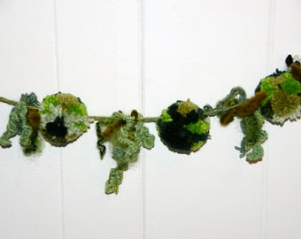 "Pom Pom Garland <Enchanted Forest> Earthy Greens <9> 2 1/2"" Pom Poms with Streamer Puffs Measures 50"" - Woodland Garland - Fairy Garland"