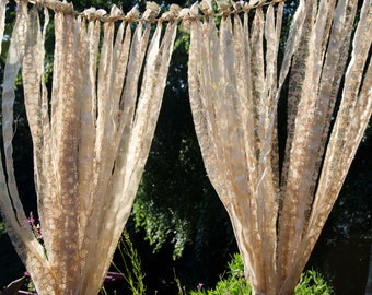 Lace Wedding Garland  Measures 4  Feet  Across and Lace Drapes Down 7 Feet Golden Yellow