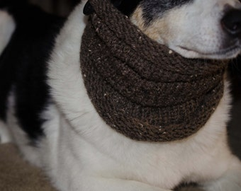 """Knit Dog Scarf/Cowl  Cocoa Brown  Size Medium -  16 Circumference by20"""" long  Fits a dog with up to 20"""" Neck - Dog Clothing - Dog Apparel"""