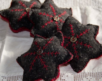 Embroiderd Wool Snowflake Star-Holiday Bowl Filler-Ornie-Folk Star- Folk- Christmas-Folk Bowl Filler Red and Black with Silver Button