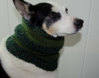 """Knit Dog Scarf/Cowl  Green Size Medium -  16 Circumference with Stretch. 18"""" long  Fits  up to 22"""" Neck OOAK Dog Accesories"""