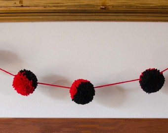 Red and Black Pom Pom Garland (7) 2 Inch Pom Poms  Pom Banner - Pom Pom Garland - Photography Prop - Party Decor
