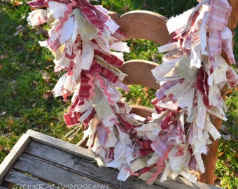 Frayed Fabric Garland Country Charm Shabby Chic  in Pink, Moss Green and White with some Pink Ric Rac Measures 3 Feet