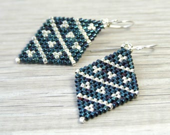 Glass Dangle Earrings Geometric Earrings Beaded Midnight Blue Earrings Silver Beadwork Jewelry Sterling Silver Unique Earrings Handmade Gift