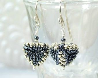 Triangle Earrings Geometric Earrings Modern Jewelry Beaded Bead Earrings Beadwork Jewelry Artisan Earrings Handmade Gifts Boho Earrings