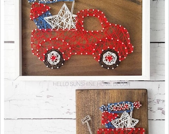 FREE SHIPPING Patriotic Truck and Wagon