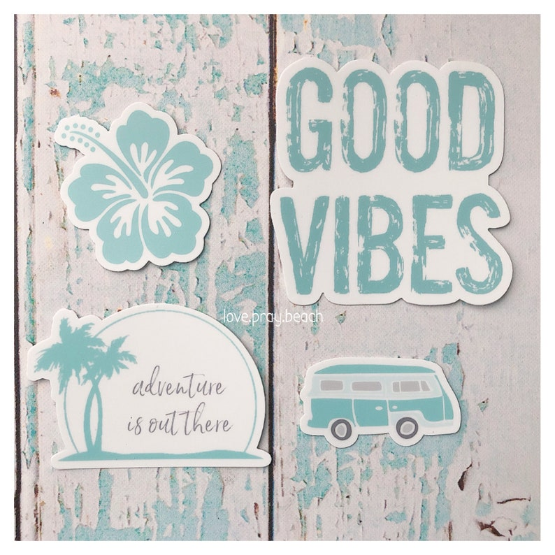 FREE SHIPPING Good Vibes Aqua Sticker Set image 0