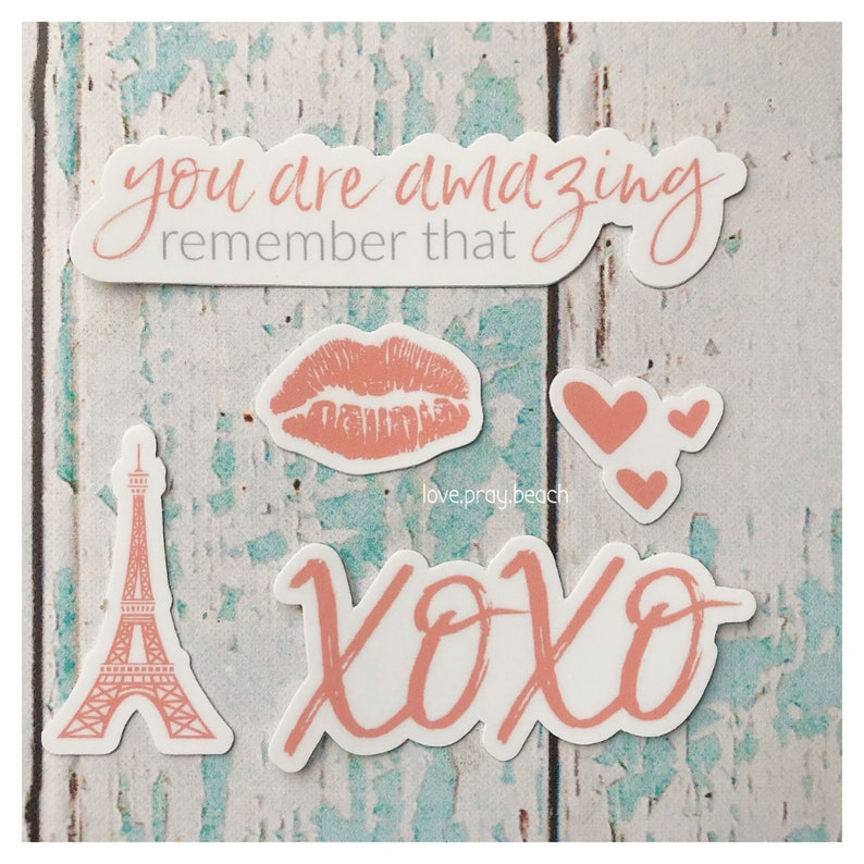 FREE SHIPPING You Are Amazing Coral Vinyl Sticker Set image 0