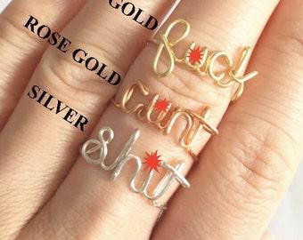 Wire Rings. Profanity Rings. C*unt, sh*t, F*uck handmade wired rings.
