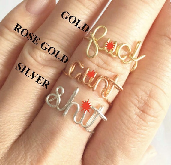Funny Gift For Her Fuck Off Custom Wire Ring Fuck Knuckle Ring Stackable Ring Fuck It Ring Fuck You Fuck Rings Fuck Jewelry