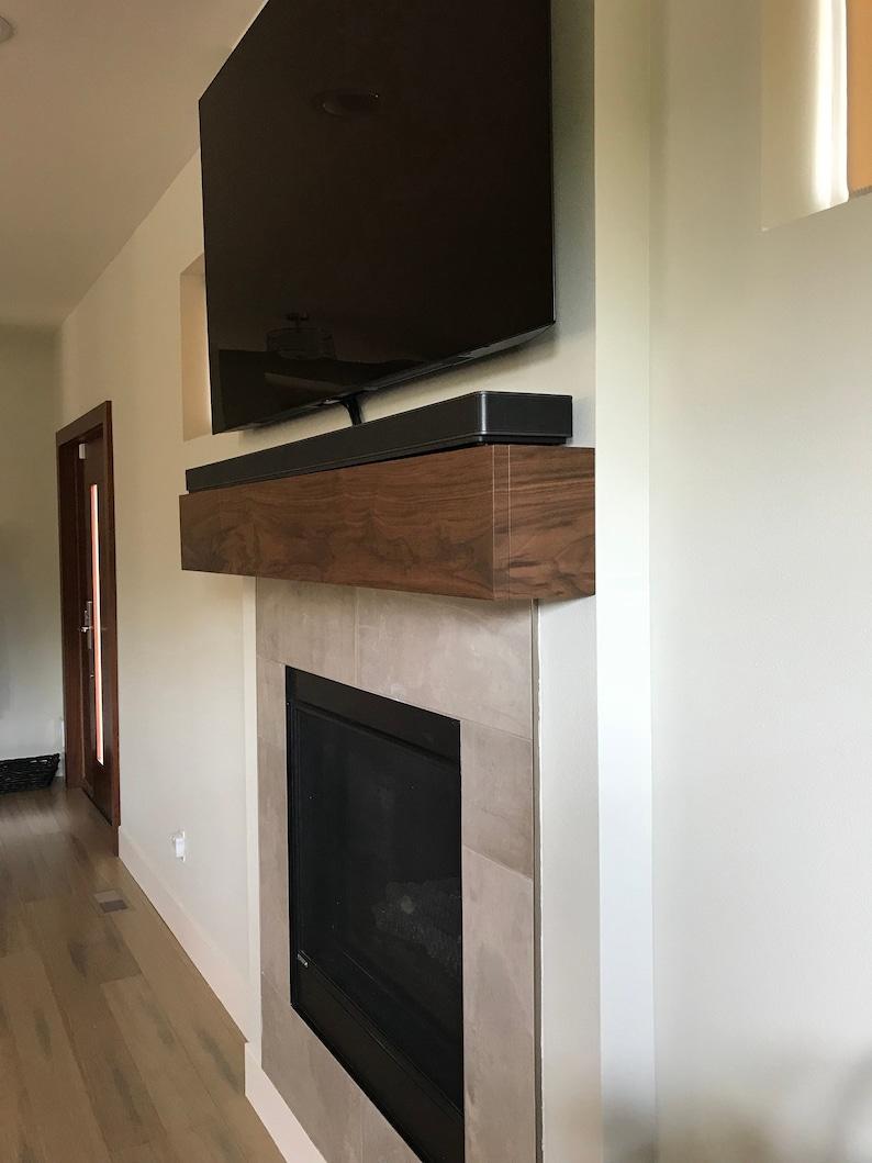 modern walnut fireplace mantel with drop front shelf media etsy rh etsy com rustic walnut fireplace mantel walnut fireplace mantel shelf