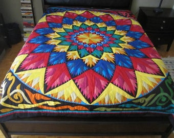 Egyptian Tentmakers Appliqué Bed Cover , Rainbow Medallion