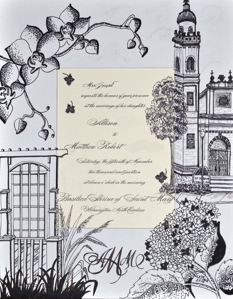 Wedding Invitation Keepsake Custom Artwork Ready To Frame Etsy