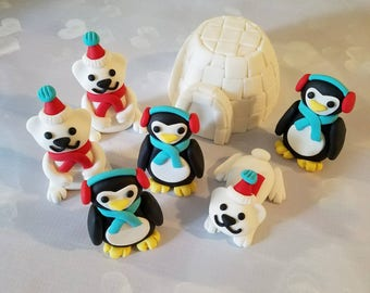 Igloo Penguin and Polar Bear Cake Topper Set