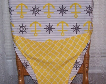 Anchors and gray chevron portable travel high chair, chair sling, or chair cover for your baby or toddler.