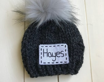 db1b49b0f3473 PICK YOUR COLORS - Custom Name Beanie - Solid Knit Beanie - Faux Fur Pom  Baby Beanie - Child Beanie - Knit Hat - Handmade - Knitted