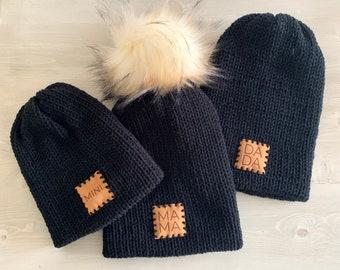 MAMA - DADA - MINI - Semi-Slouchy Knit Beanies