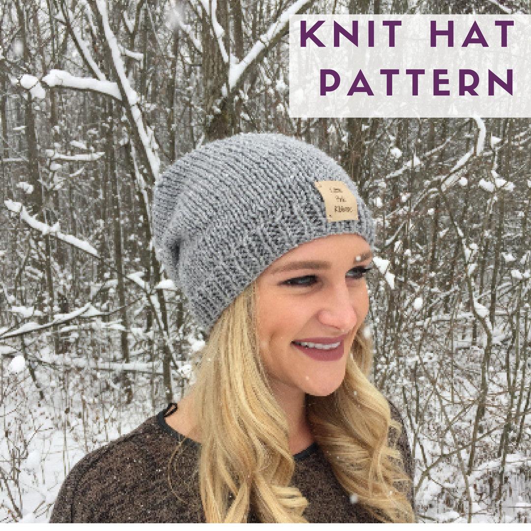 PATTERN // Slouchy Knit Hat Pattern // Knit Hat Pattern // Slouchy ...