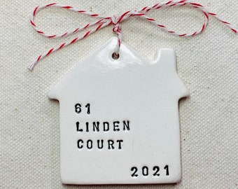 new home ceramic keepsake Christmas ornament personalized with your address