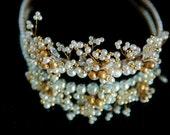 Stunning Hand beaded Swarovski and pearl beaded tiara - Gold Pearl beaded head piece - Bridal wedding Tiara