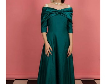 e033797905bb8 Vintage teal bardot off shoulder 80s vintage bridesmaid dress evening dress