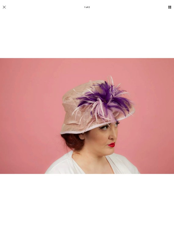 Pink/Purple feathered formal hat