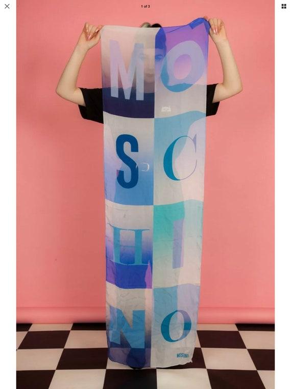 Rare oversized blue colour block Moschino scarf -