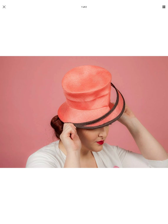 Coral and brown formal hat