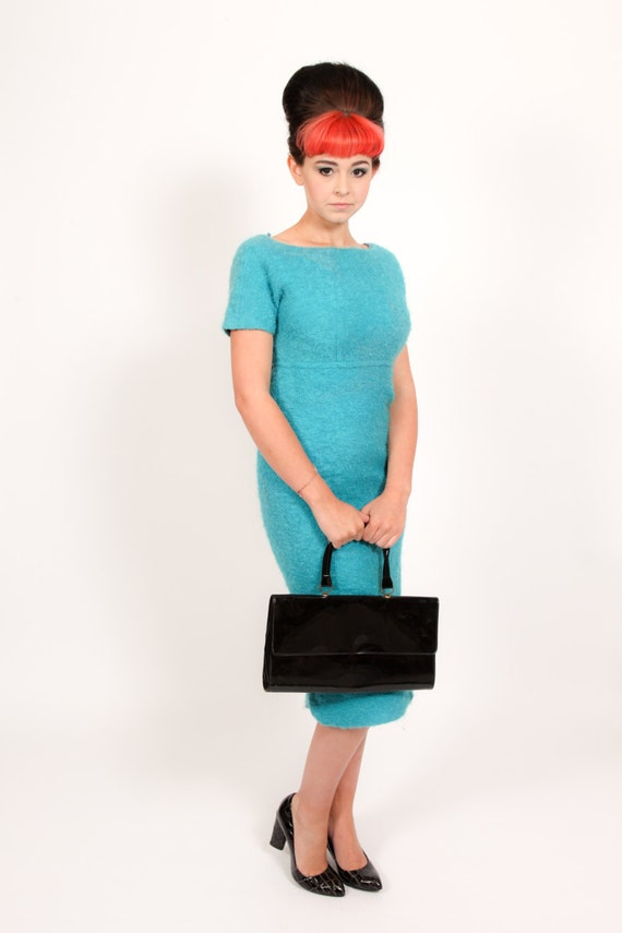 Stunning 1950s mohair wool Pencil wiggle dress by